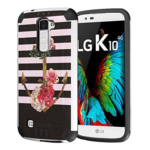 LG K10 Case, LG Premier LTE Case, Capsule-Case Hybrid Dual Layer Silm Defender Armor Combat Case Brush Texture Finishing for LG K10 / LG Premier LTE - (Anchor) (Anchor Premier)