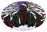 Doggie of the Day Black Cats Christmas Family Portrait in Holiday Scenic Background Oval Envelope Seals OVE66828 (50)