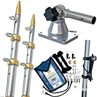 TACO METALS GS-170VEL15-1 / TACO Grand Slam 170 Outrigger Kit w/Silver/Gold 15 Outriggers, Rigging Kit & Line Caddy