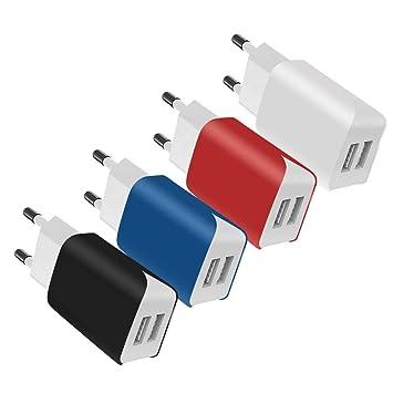 SCHITEC Cargador de Pared USB 2 Puertos, Paquete de 4 5V / 2.1A Colorido Puerto Doble Adaptador de Pared portátil Adaptador de Corriente para Enchufe ...