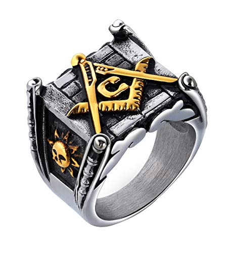 ALEXTINA Men's Stainless Steel Vintage Fraternity Freemason Ring Masonic College Style Class Ring Gold Size ()