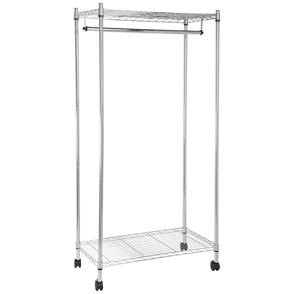 QHYT 2 Tier Layer Compact Laundry Clothes Drying Rack Free Standing Hanger with Wheel Iron Silver