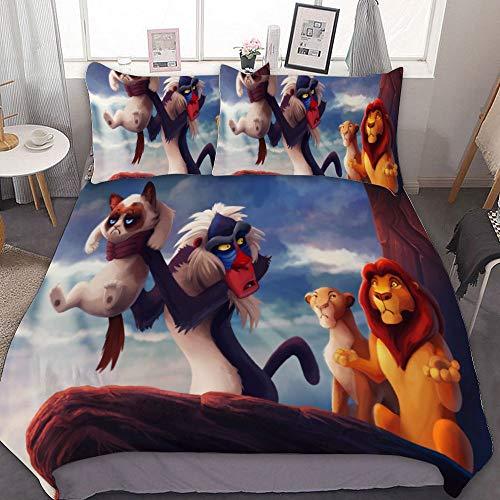Harvey Rhodes The Lion King The Lion King Cats Rafiki, Comforter Set Full, 3 Piece Bed Sets, Ultra Soft Microfiber Unisex Bedding Set Modern Pattern Printed,Twin (Sets Bedroom Furniture Harveys)
