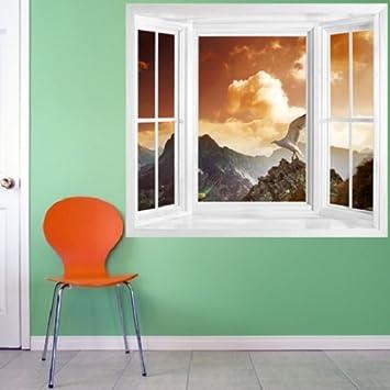 Fototapete fensterrahmen  wim186 - Berge Sonnenuntergang Landschaft Aussicht vom Fenster ...