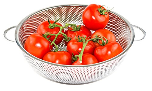 GRAN Stainless Steel Micro-Perforated Colander Kitchen Strainer Sieve with Handle - Large 5 Quart Bowl - Pasta, Rice, Fruit, Vegetable Drainer ()