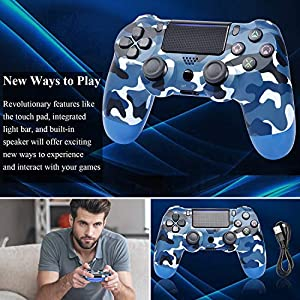 Game Controller for PS4,Wireless Controller for Playstation 4 with Dual Vibration Game Joystick (Navy Blue) (Color: Navy Blue)