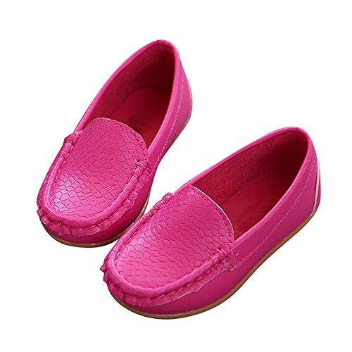 Highdas Children Zapatos Niños por Girls Chicos Breathable Zapatillas Flats Con Suave Cuero Corriendo ZapatosToddler/Little Kid/Big Kid Rosa