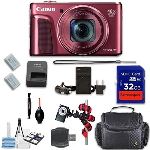 Canon PowerShot SX720 HS Digital Camera (Red) + Extremespeed 32GB High Speed Memory Card + High Speed Memory Card Reader + Spider Tripod + Camera Case and More by Eternal Photo