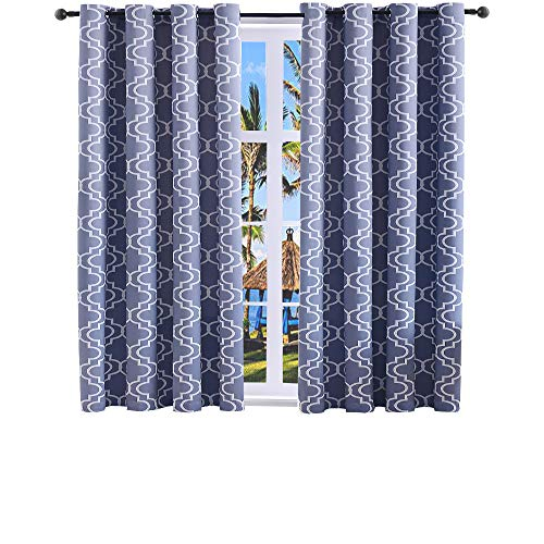 Moroccan Bedroom Set - Blackout Curtains for Bedroom Room Darkening Thermal Insulated Curtains for Living Room Moroccan Print Grommet Window Curtain 52 x 63 inches Set of 2 Panels Grey