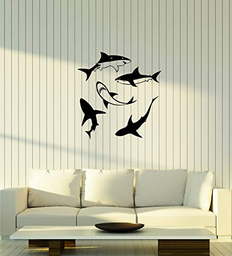 Large Vinyl Wall Decal Sharks Bathroom Decorating Idea Interior Decor Stickers Mural (ig5895) -
