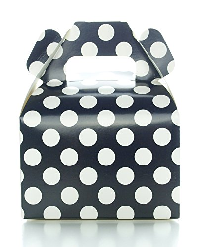Party Favor Candy Boxes, Black Polka Dot (12 Pack) - Black Candy Buffet Treat Boxes, Wedding Table Decorations, Small Black Birthday Gift Boxes -