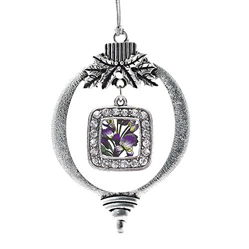 Inspired Silver Iris Flower Classic Holiday Decoration Christmas Tree Ornament - Iris Holiday