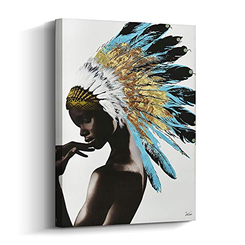 Framed Native American Decor Wall Art, Beautiful Feathered African Indian Women Painting on Canvas Print Modern Wall Decorations (16x24 inch, B)