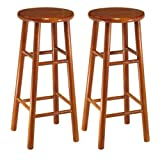 Bar Stool 30 Inch Winsome Wood Assembled 30-Inch Cherry Finish Bar Stools, Set of 2