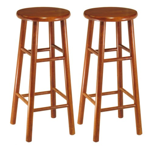 Winsome Wood Assembled 30-Inch Cherry Finish Bar Stools, Set of (24 Inch Round Bar Stool)
