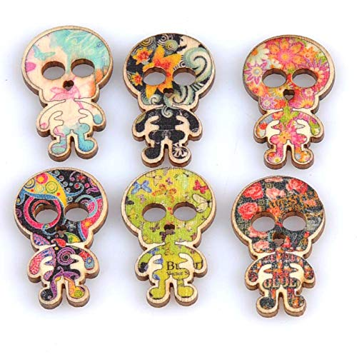 SaveStore 50pcs Skull Painting Wooden Decorative Buttons for Halloween Scrapbooking Craft Sewing Supplies 19x30mm for $<!--$9.93-->
