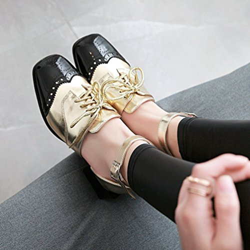 Con Col Scarpe Xinwcang Cinturino Moda Grosso Tacco Donna Eleganti Sandali Chiusi Oro cxx1tWnY
