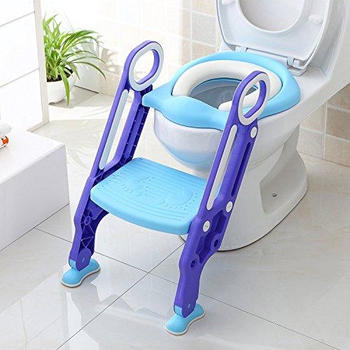 Bamny Toiletbril voor kinderen met trap, potjestrainer, toilettrainer, kinderpotje met ladder 38-42 cm