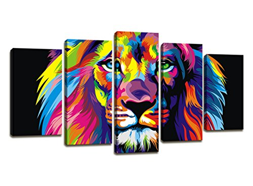 Modern Painting Canvas Wall Art Art Prints – 5 Panel Colorful Lion Art Pictures Print On Canvas Decoration Home and bathroom wall