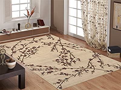 Floral Beige Branches Area Rug