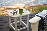 """POLYWOOD SBT18WH South Beach 18"""" Outdoor Side Table, White"""