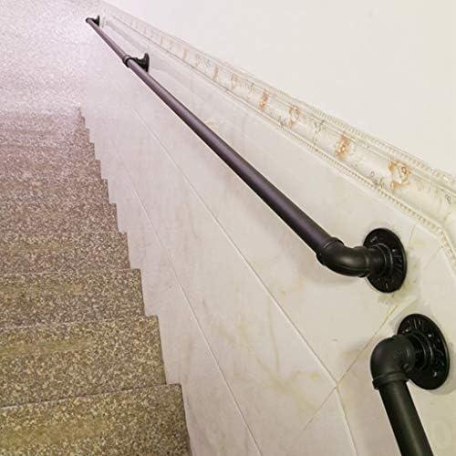 d/écor de Maison Rampe de s/écurit/é Murale Noir Mat Rampe JUN-Main courante Rampes de tuyauterie industrielles for escaliers Rampe descalier for int/érieur ext/érieur