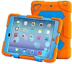 Ipad Case,Ipad Mini 2 Case,Ipad Mini 3 Case,ACEGUARDER®ipad mini case Case for kids Rainproof Shockproof Anti-Dirt Drop Resistance Case(orange-blue) by ACEGUARDER