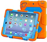 iPad Mini 4 Case for Kids,Aceguarder Silicone Protective Case Shockproof Kidsproof with Kickstand and Clear Plastic Screen Protector (Orange Blue)