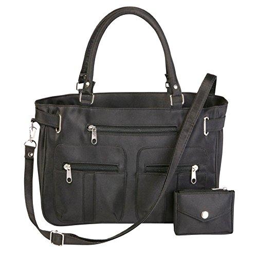 Women's Stylish Double-Handle Zippered 6-Pocket Microfiber Handbag and Matching Coin Purse, Black, ()