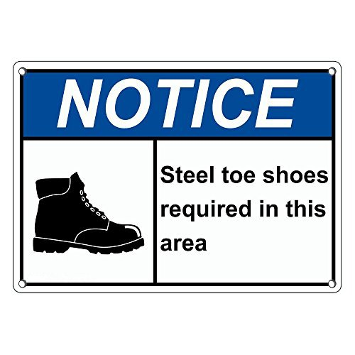 Weatherproof Plastic ANSI Notice Steel Toe Shoes Required in This Area Sign with English Text and Symbol SignJoker