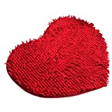 Soft Shaggy Non Slip Absorbent Bath Mat Shower Rugs Carpet for Bathroom Protector for Deep Pile Carpet by Shmei (Red)