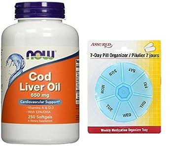 Aceite de hígado de bacalao ahora 650 mg, 250 cápsulas