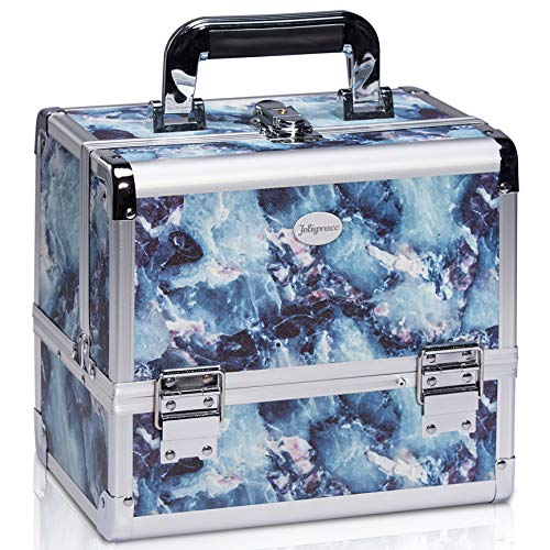 Joligrace Makeup Train Case Cosmetic Organizer Box Lockable with 3 Trays and a Brush Holder Pattern Collection (Marble)