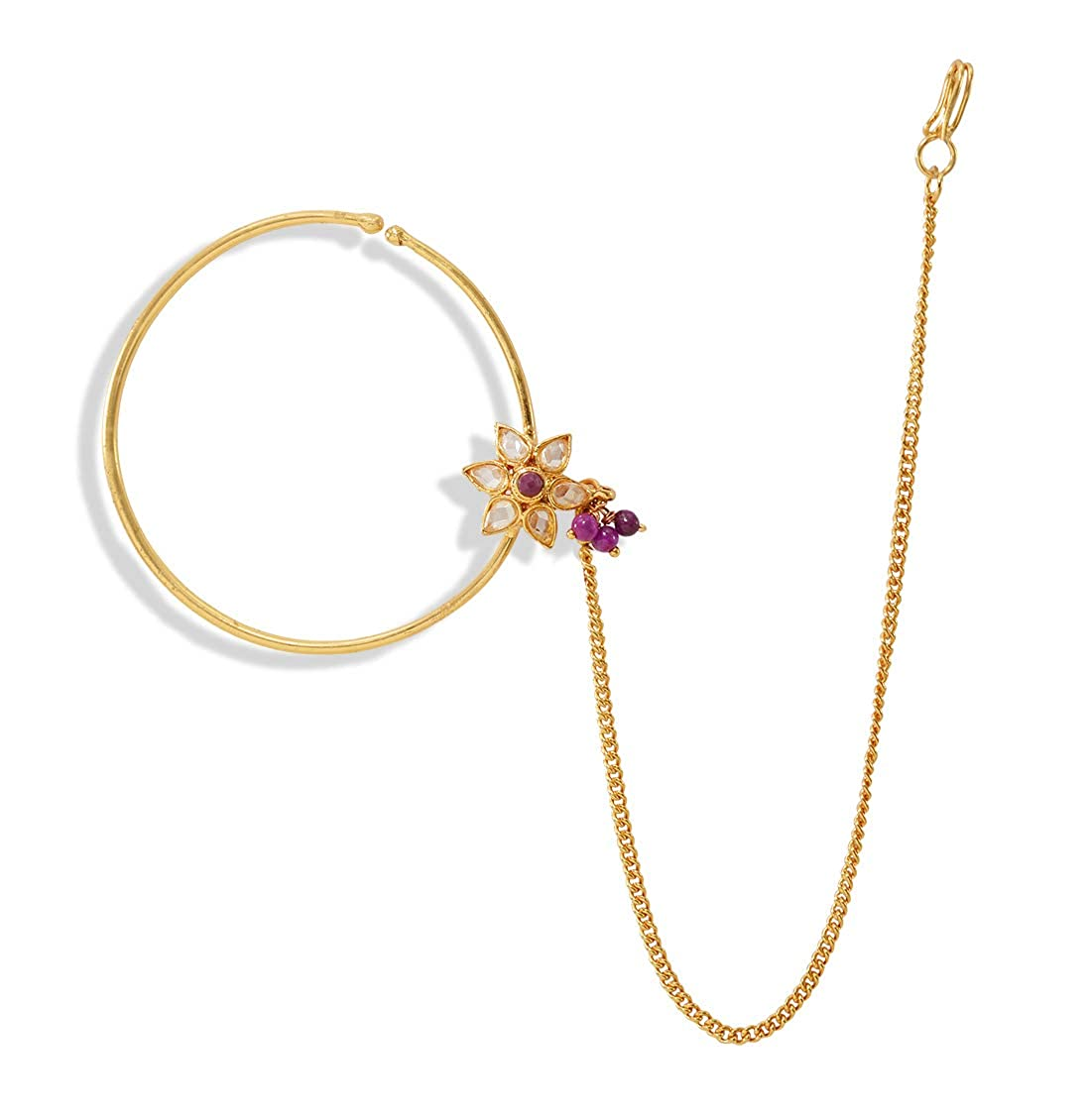 Buy Desire Collection Nath Traditional Nathiya For Women Latest Design Nose Ring Without Piercing Gold Plated Nath Clip On Nose Ring For Women White At Amazon In