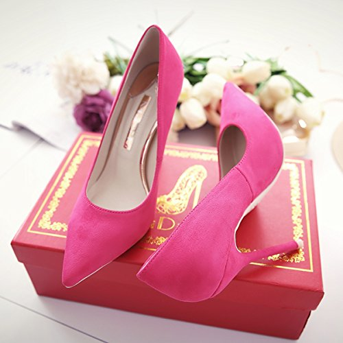 GAOLIM The Bare-Colored Tip Light The High-Heel Shoes 10Cm Thin Women With Single Shoes Wedding Shoes,34 The 220, Red