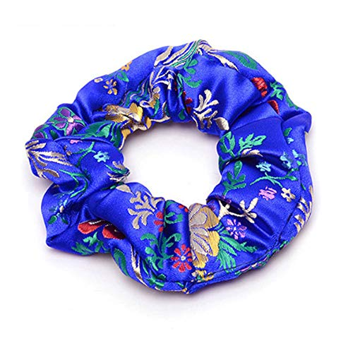 Women Fashion Chinoiserie Smooth Silk Embroidery Floral Hair Accessories Ties Bands Rope Ring Scrunchie Headbands Gum For Hair 3