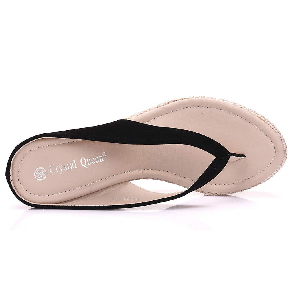 SMALLE_Shoes Wedge Flip Flops for Women,SMALLE◕‿◕ Women Beach Sandals Platform Wedges Sandals High Heels Wedges Slippers Black by SMALLE_Shoes (Image #4)