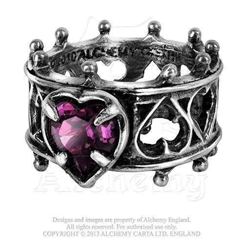 Elizabethan Crystal - Elizabethan Crown of a Queen Lord Dudley's Sign of Devotion Deep Purple Swarovski Crystal Pewter Ring By Alchemy Gothic Size 6
