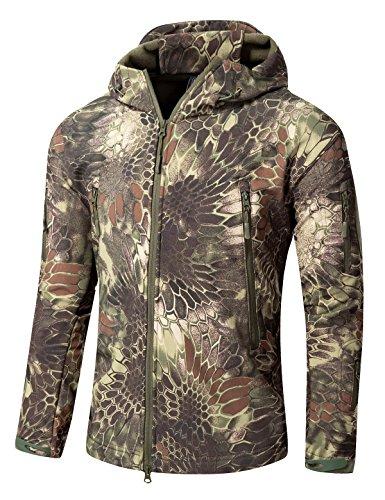 YFNT Men's Softshell Tactical Hooded Jacket Military Fleece Jacket Outdoor Coat -