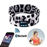 Wireless Bluetooth Headband, WU-MINGLU Wireless Sports Headband Sleep Headphones Headset Running Headphones with Mic Built-in Stereo Speakers Yoga Bluetooth Headband, Leopard 2