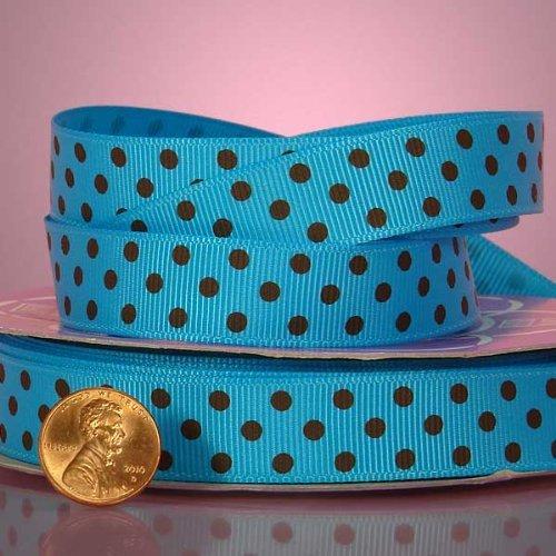 Turquoise And Brown Polka Dot Grosgrain Ribbon, 3/8