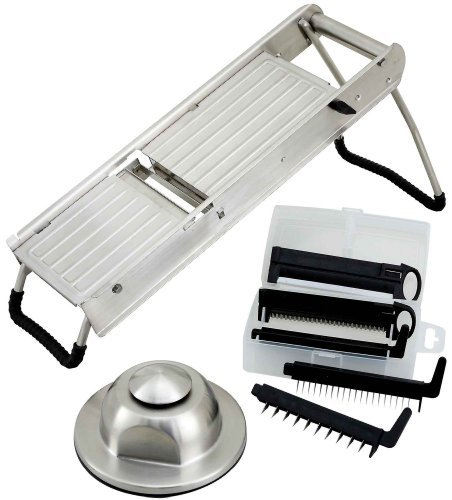 Winco winware Stainless Steel Mandoline Slicer Set with Hand Guard by Winco