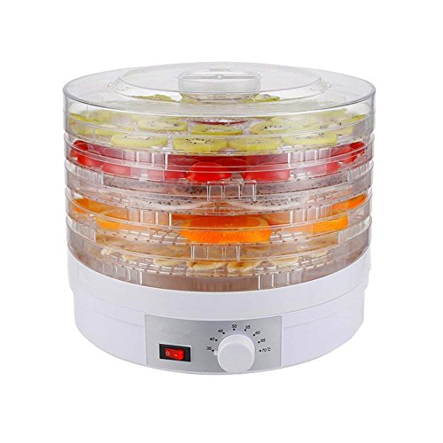PANO 5 Tier 250W Snack Master Electric Food Dehydrator,Airflow Circulation with Adjustable Temperature,Food Preserver, White by Pano