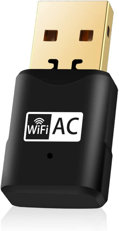 USB WiFi Adapter for PC 600Mbps Dual Band Network Adapter (5.8Ghz / 433Mbps + 2.4GHz / 150Mbps) WiFi Dongle Free Driver for Desktop/Laptop Supports Windows 10/8.1/8/7/Vista Mac OS X
