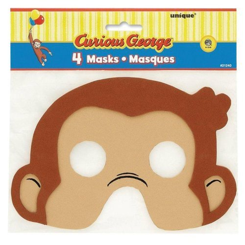 Curious George Masks - Curious George Foam Masks - Birthday and Theme Party Supplies - 4 Per Pack