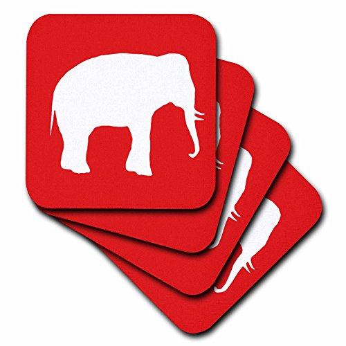 - 3dRose cst_164912_2 Red Elephant Silhouette White Wildlife Modern Wild Animal Shadow-Soft Coasters, Set of 8