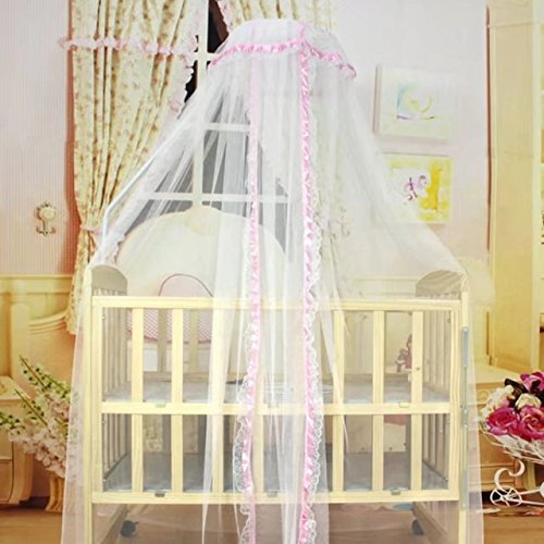 KateDy Baby Breathable Mosquito Net,Palace-style Pink Cloth Edge Lace Decor for Crib Cot,Children's Sleeping Bed Dome Crib Canopy Netting,Summer Gift for Baby Toddlers Kids from Katedy