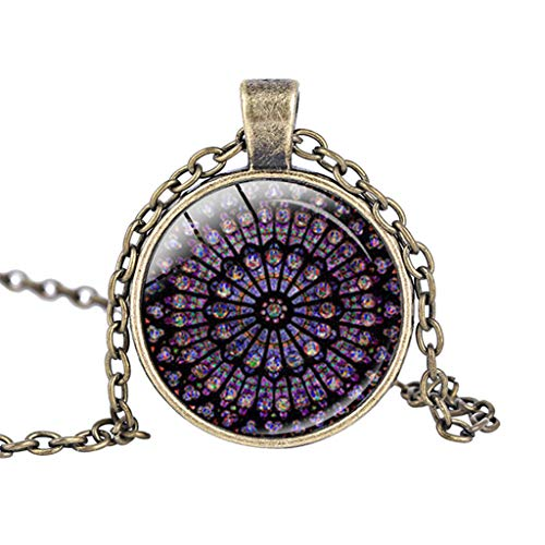 (Ouniman Rose Window Hanging Ornament Notre Dame de Paris Memorial Necklace for Women Men - Gold)