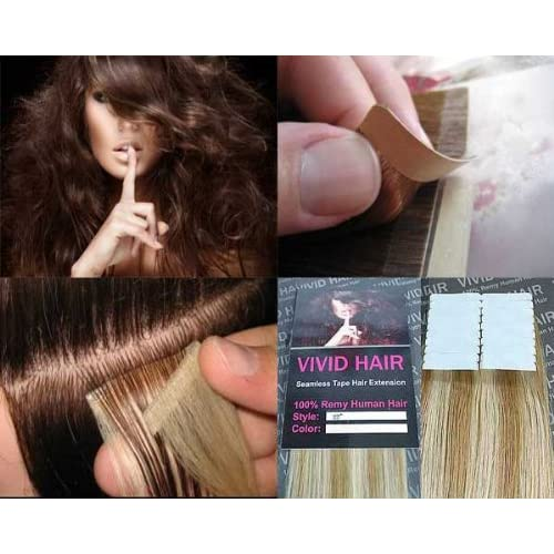 """20 Pcs X 18"""" inches Remy Seamless Tape Skin weft Human Hair Extensions Color 8C/11C Honey Blonde Mix Platinum Blonde"""