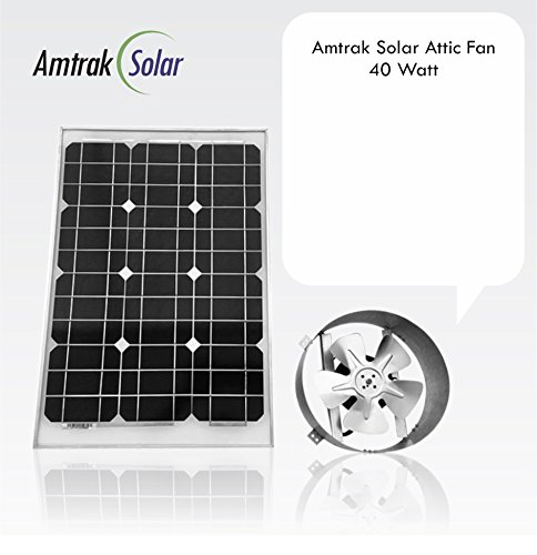 Amtrak Solar's Powerful 40-Watt Galvanized Steel Solar Attic Fan Quietly Cools your House Ventilates your house, garage or RV and protects against moisture - Gable Fan Attic Vent